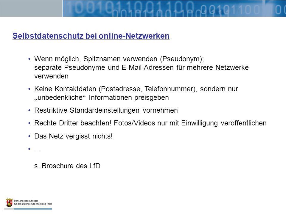 Selbstdatenschutz bei online-Netzwerken