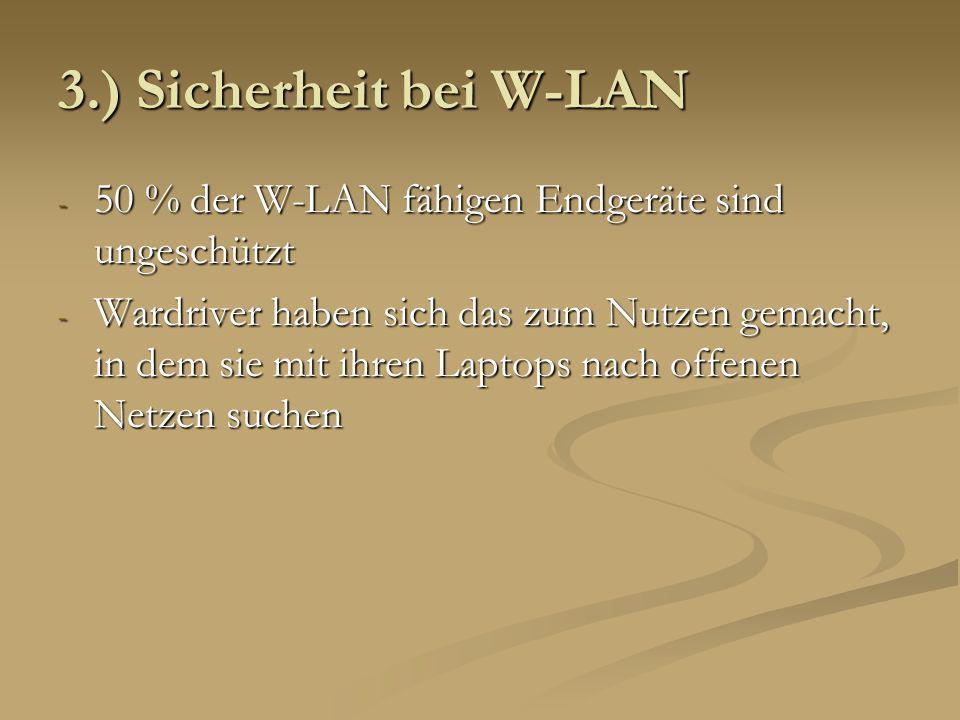3.) Sicherheit bei W-LAN 50 % der W-LAN fähigen Endgeräte sind ungeschützt.