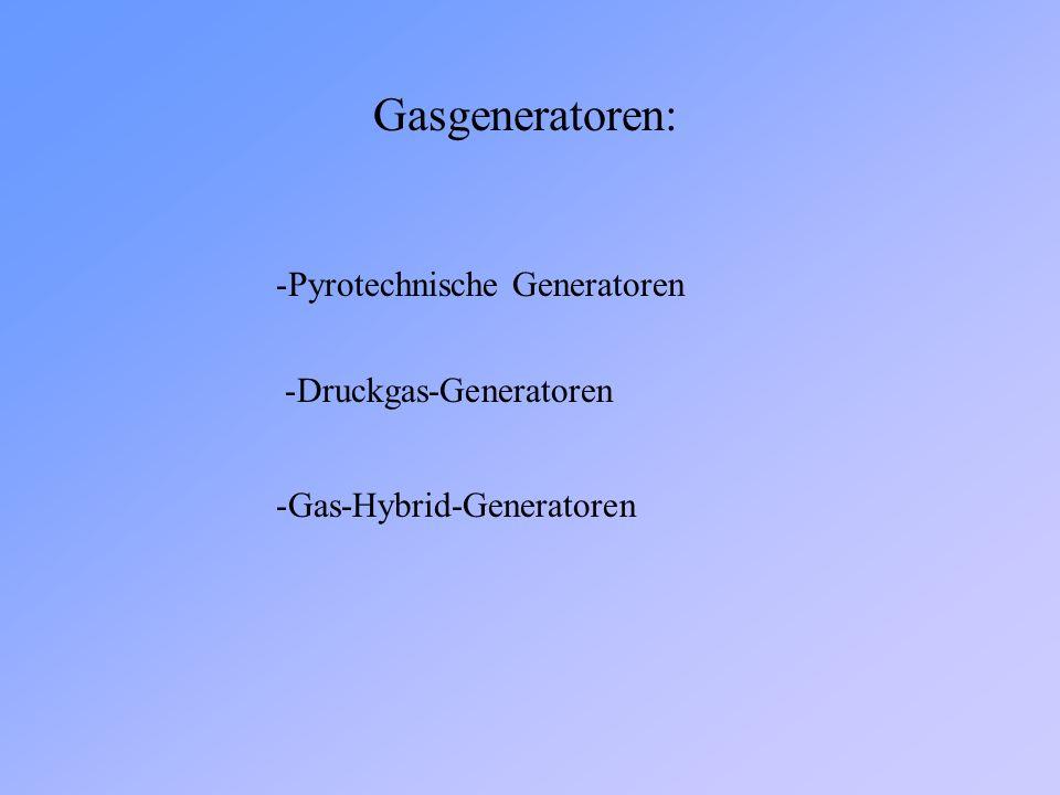 Gasgeneratoren: Pyrotechnische Generatoren Druckgas-Generatoren