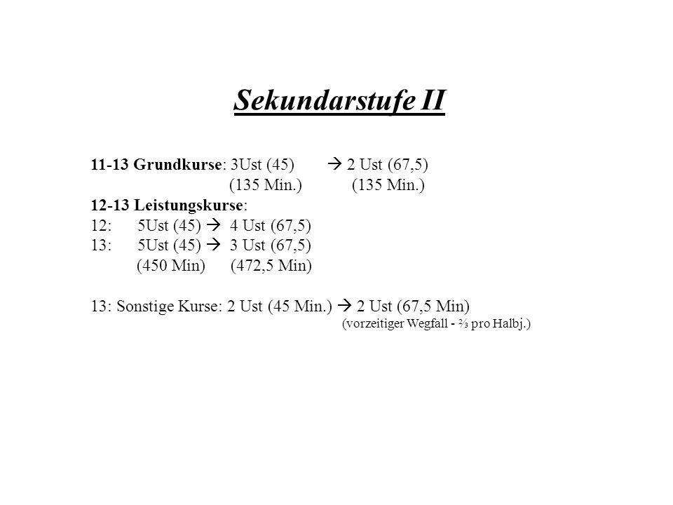 Sekundarstufe II 11-13 Grundkurse: 3Ust (45)  2 Ust (67,5)