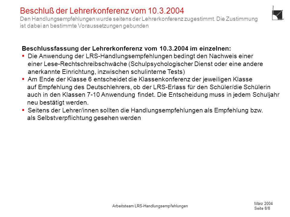 Beschluß der Lehrerkonferenz vom 10. 3