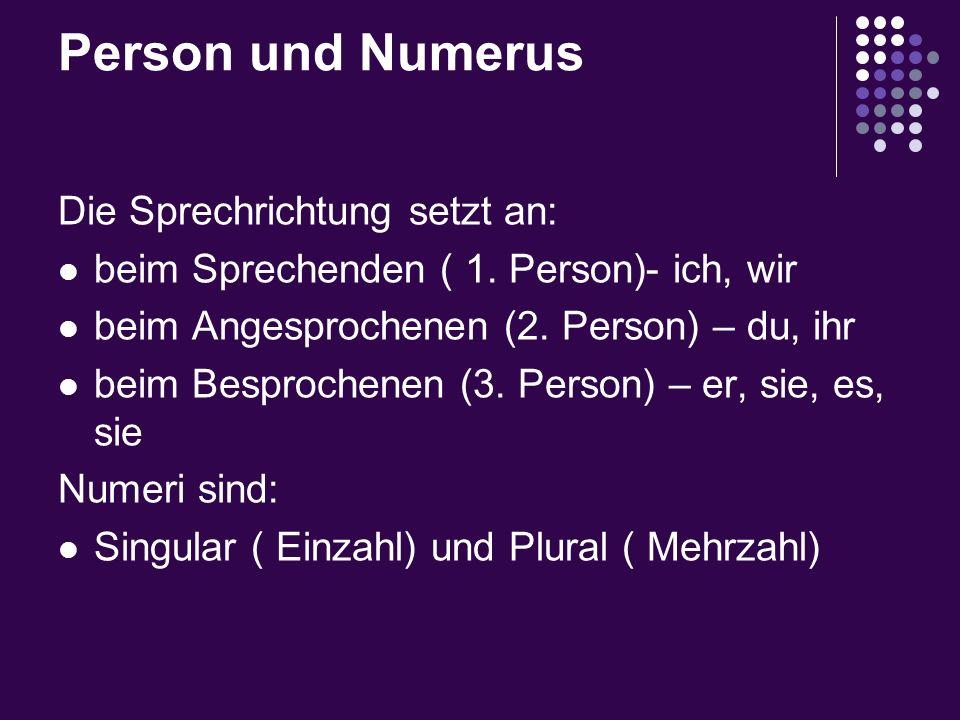 Person und Numerus Die Sprechrichtung setzt an: