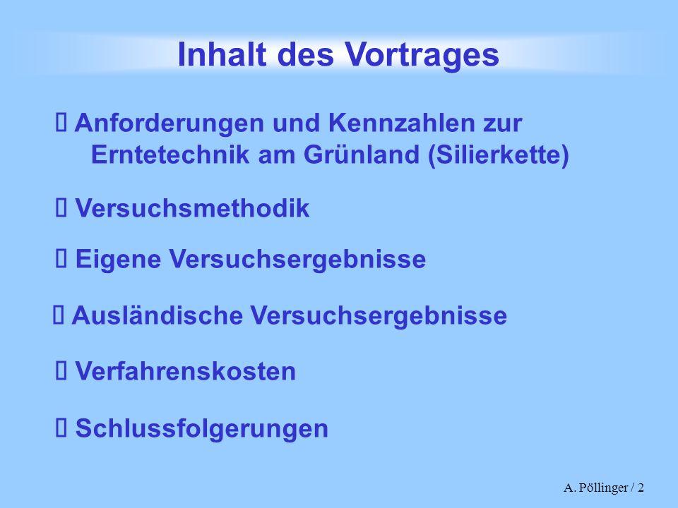 Inhalt des Vortrages è Anforderungen und Kennzahlen zur Erntetechnik am Grünland (Silierkette) è Versuchsmethodik.