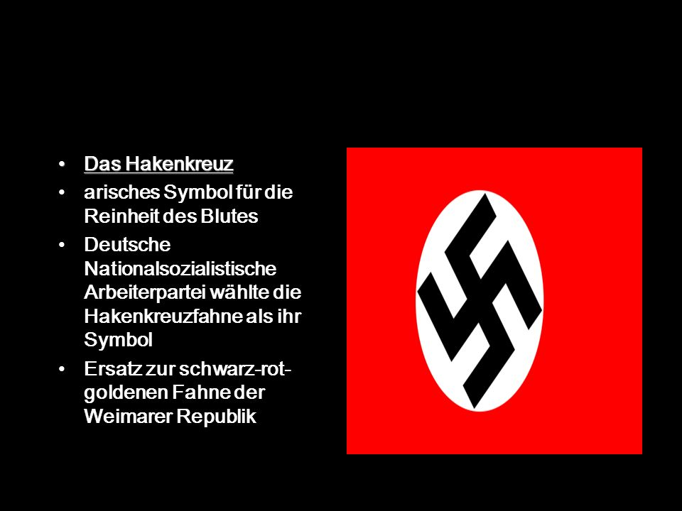 Das Hakenkreuz arisches Symbol für die Reinheit des Blutes. Deutsche Nationalsozialistische Arbeiterpartei wählte die Hakenkreuzfahne als ihr Symbol.