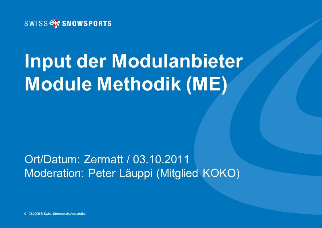 Input der Modulanbieter Module Methodik (ME)