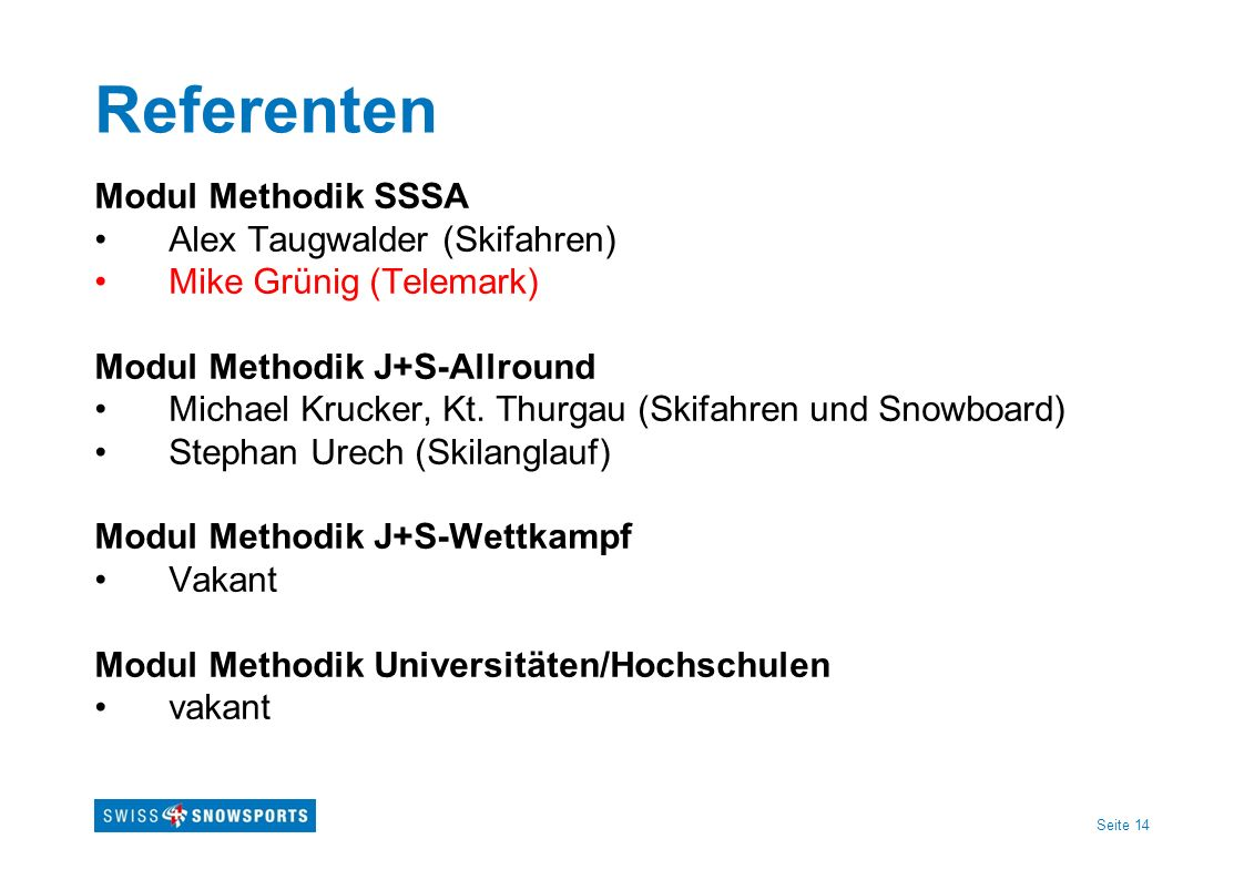 Referenten Modul Methodik SSSA Alex Taugwalder (Skifahren)