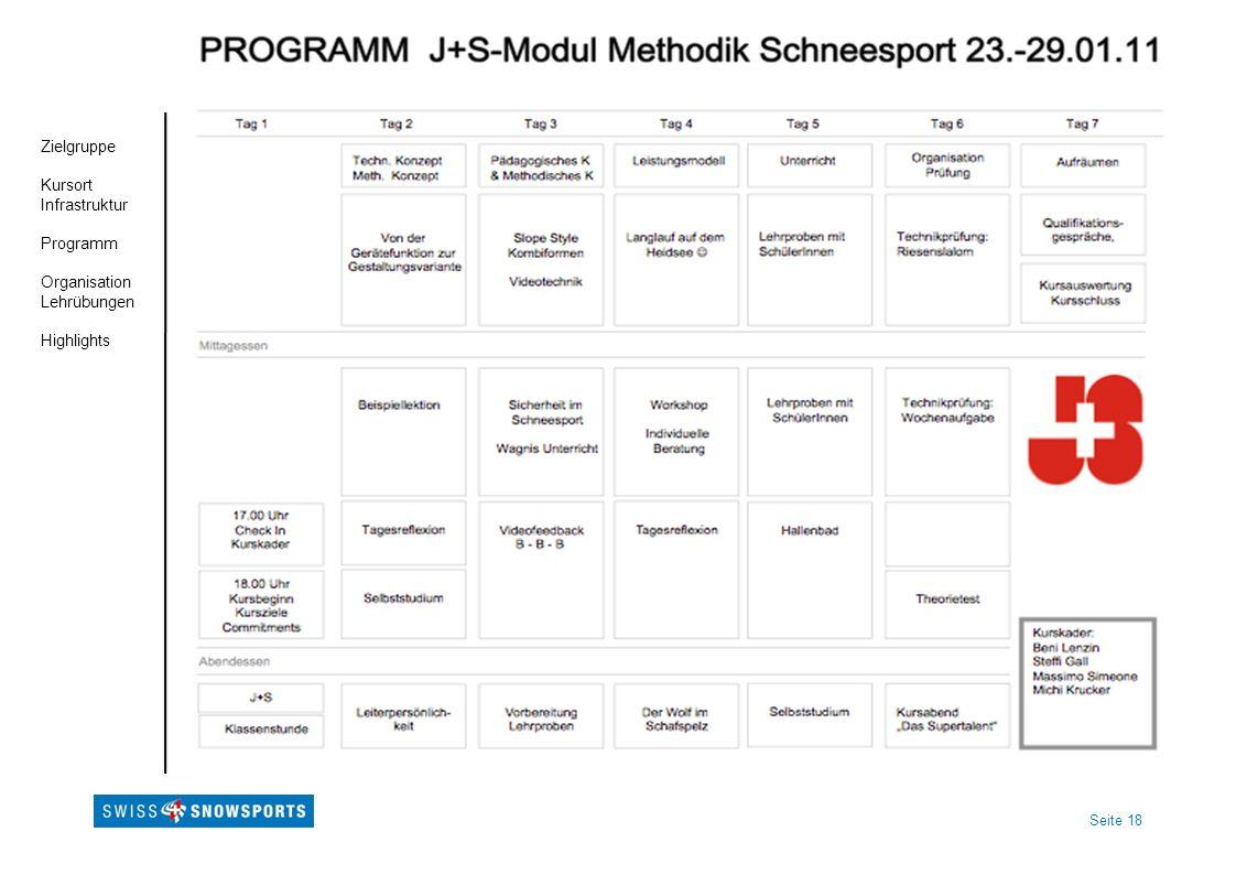 Zielgruppe Kursort Infrastruktur Programm Organisation Lehrübungen Highlights