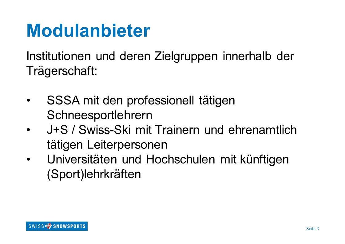 Modulanbieter Institutionen und deren Zielgruppen innerhalb der Trägerschaft: SSSA mit den professionell tätigen Schneesportlehrern.