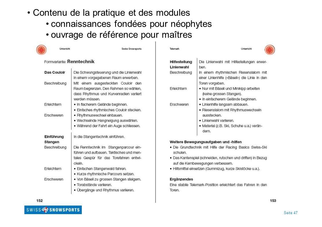 Contenu de la pratique et des modules