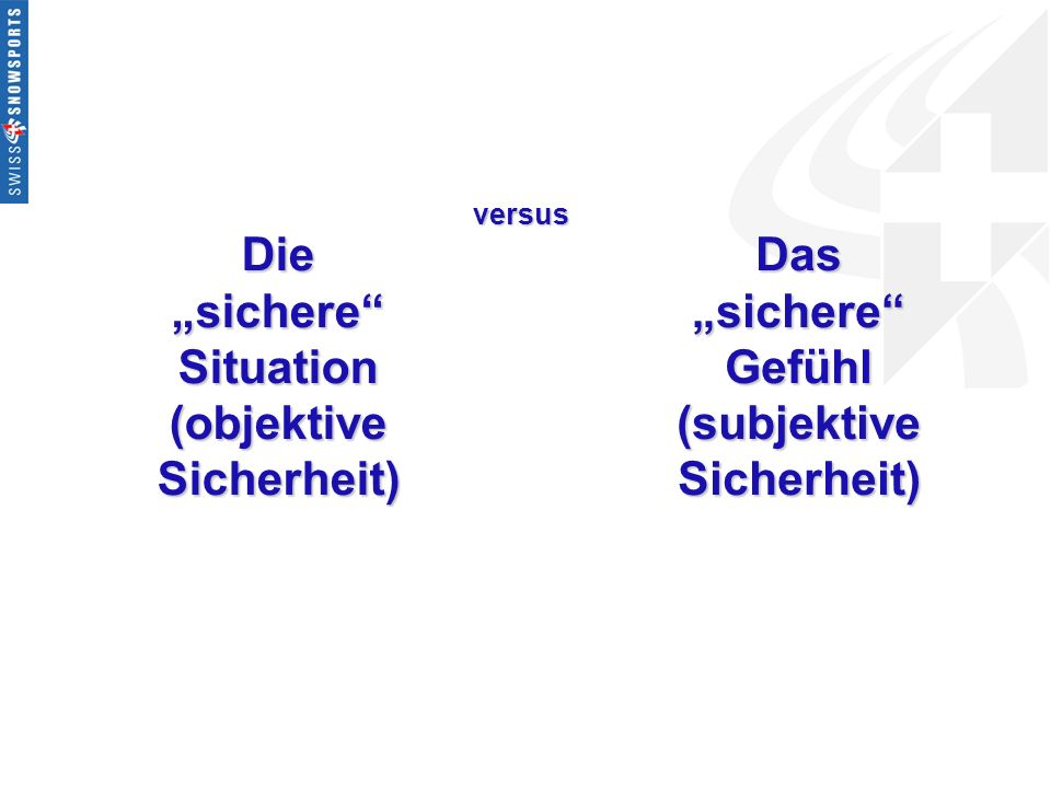 "Die ""sichere Situation (objektive Sicherheit) (subjektive Sicherheit)"