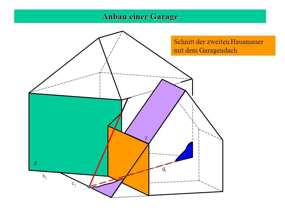 Anbau einer Garage Schnitt der zweiten Hausmauer mit dem Garagendach c