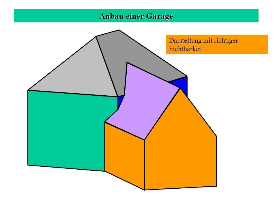 Anbau einer Garage Darstellung mit richtiger Sichtbarkeit c a