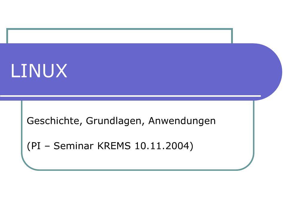 Geschichte, Grundlagen, Anwendungen (PI – Seminar KREMS 10.11.2004)