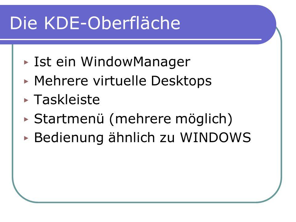 Die KDE-Oberfläche Ist ein WindowManager Mehrere virtuelle Desktops