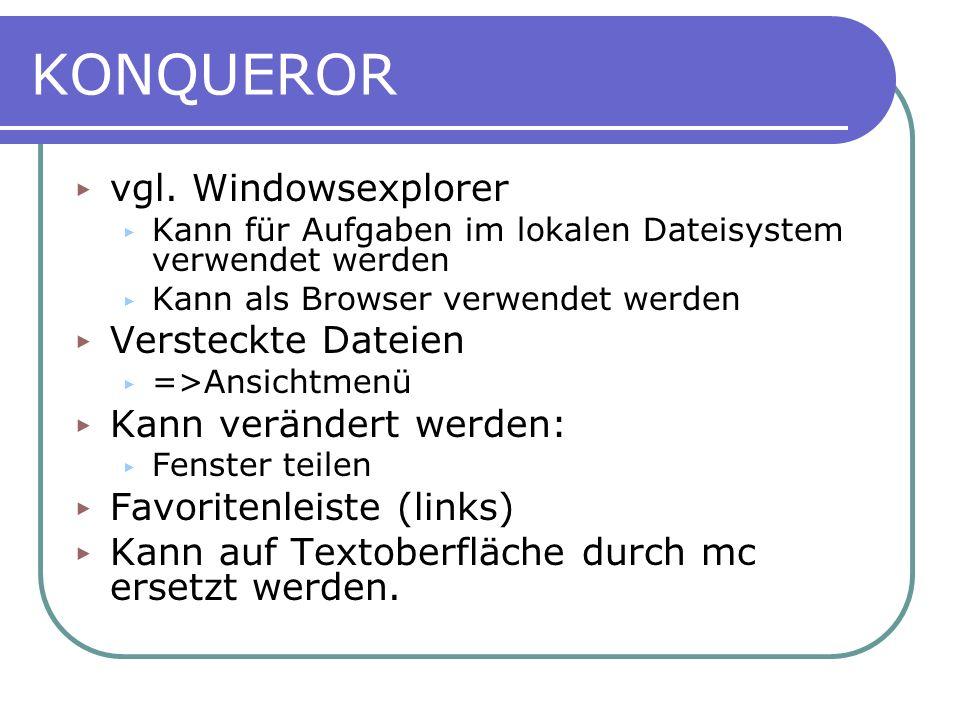 KONQUEROR vgl. Windowsexplorer Versteckte Dateien