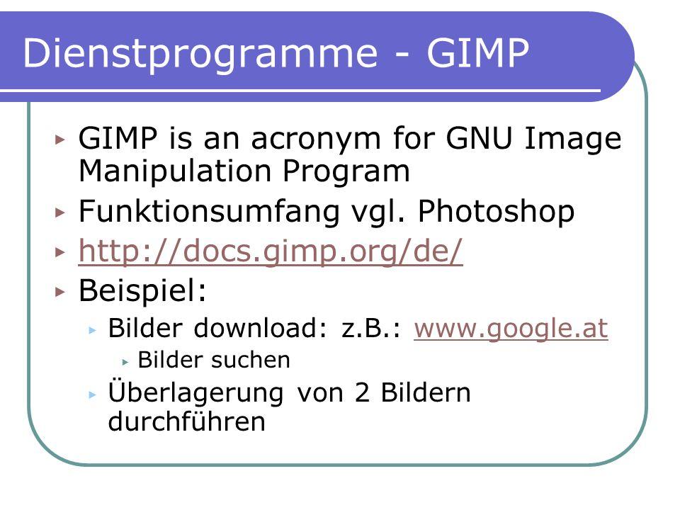 Dienstprogramme - GIMP
