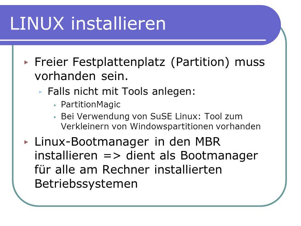 LINUX installieren Freier Festplattenplatz (Partition) muss vorhanden sein. Falls nicht mit Tools anlegen: