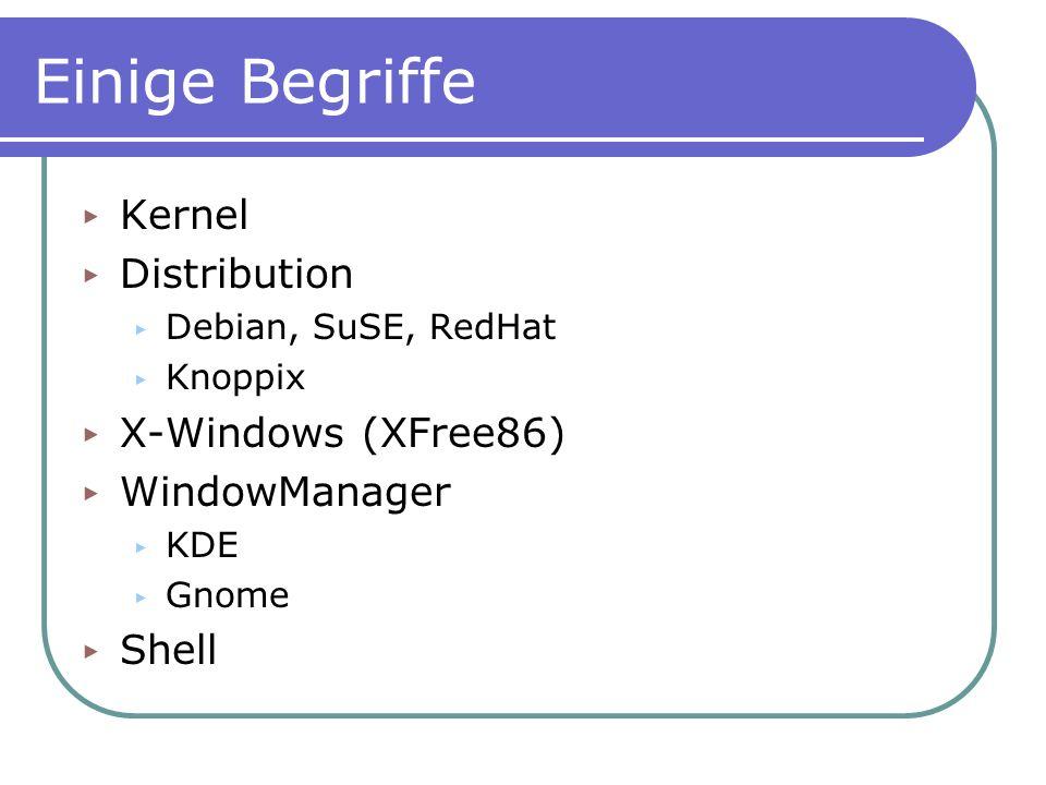 Einige Begriffe Kernel Distribution X-Windows (XFree86) WindowManager