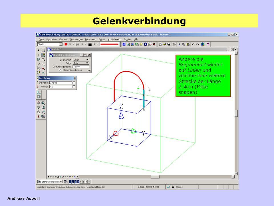 Ändere die Segmentart wieder auf Linien und zeichne eine weitere Strecke der Länge 2.4cm (Mitte snapen).