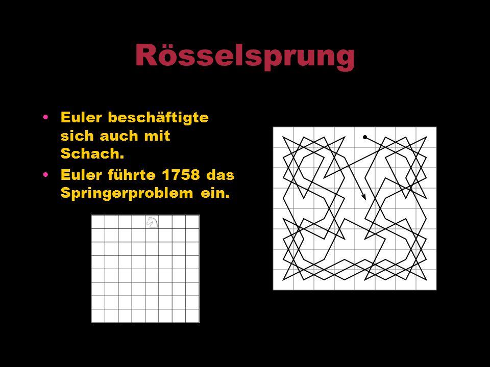 Rösselsprung Euler beschäftigte sich auch mit Schach.