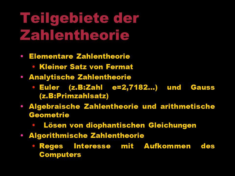 Teilgebiete der Zahlentheorie