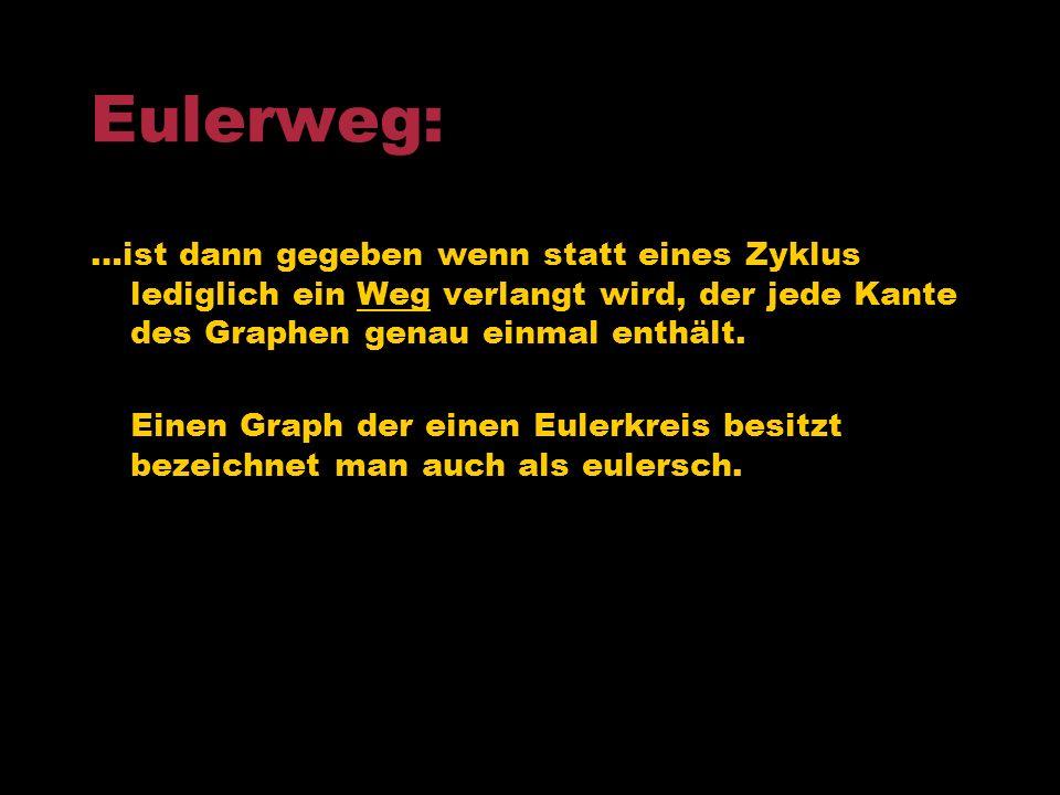 Eulerweg: …ist dann gegeben wenn statt eines Zyklus lediglich ein Weg verlangt wird, der jede Kante des Graphen genau einmal enthält.