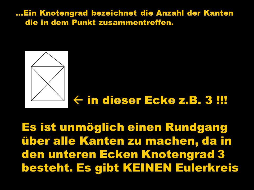 …Ein Knotengrad bezeichnet die Anzahl der Kanten die in dem Punkt zusammentreffen.