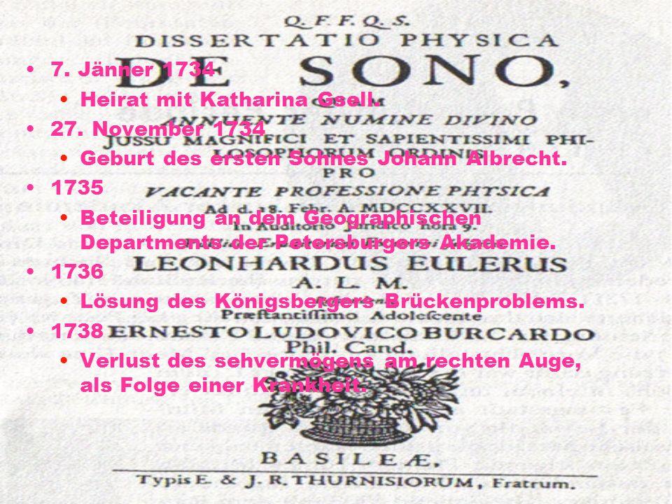 7. Jänner 1734 Heirat mit Katharina Gsell. 27. November 1734. Geburt des ersten Sohnes Johann Albrecht.