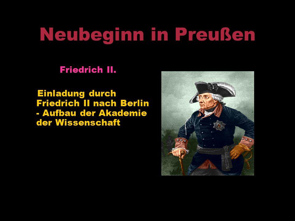 Neubeginn in Preußen Friedrich II.