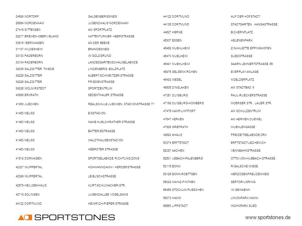www.sportstones.de 24589 NORTORF GALGENBERGSWEG 26954 NORDENHAM