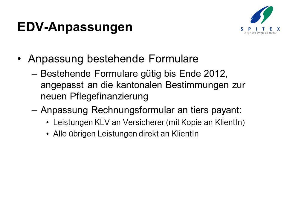 EDV-Anpassungen Anpassung bestehende Formulare