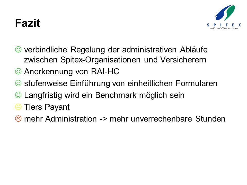 Fazit verbindliche Regelung der administrativen Abläufe zwischen Spitex-Organisationen und Versicherern.