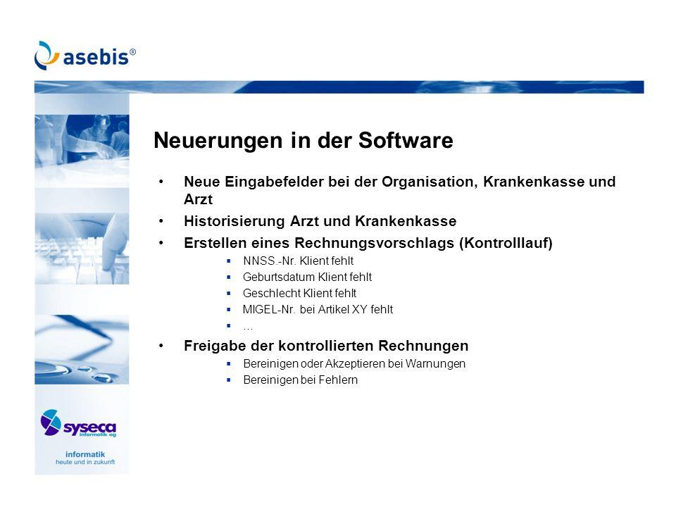 Neuerungen in der Software