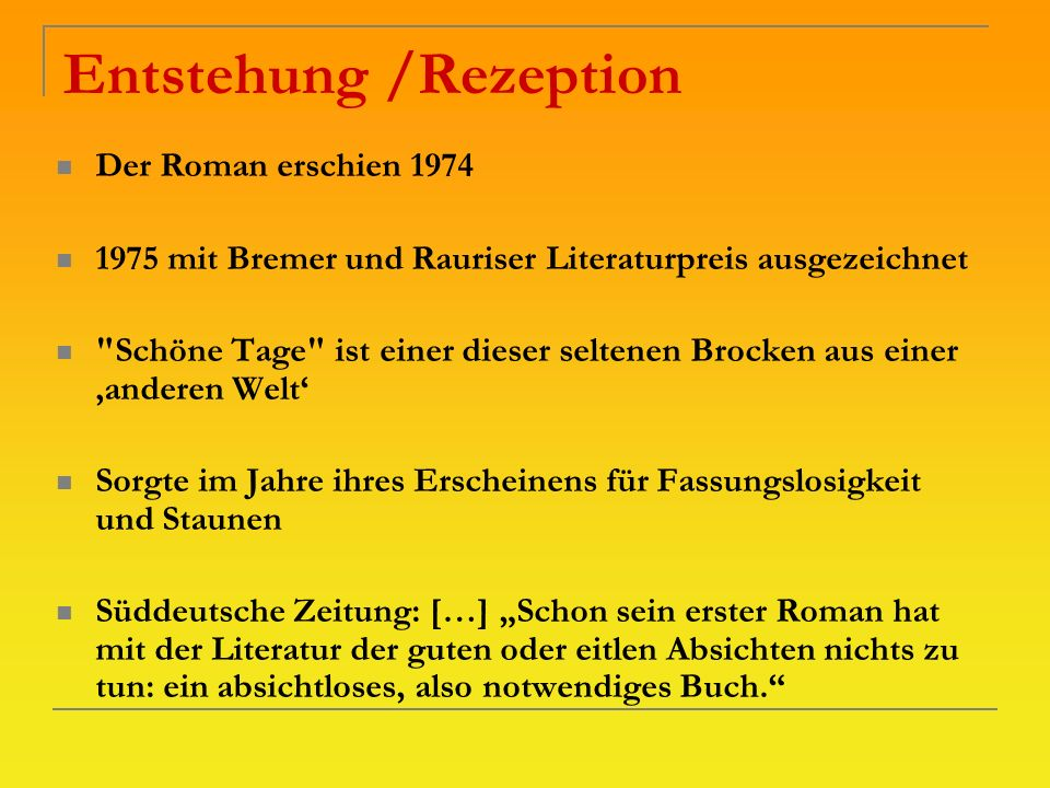 Entstehung /Rezeption
