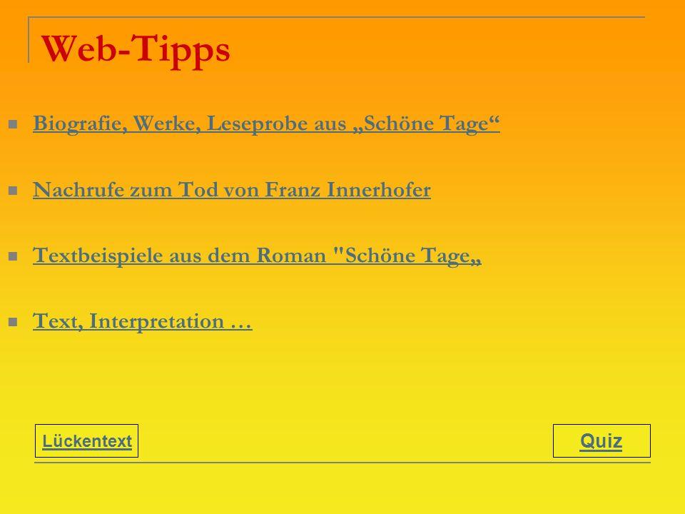 """Web-Tipps Biografie, Werke, Leseprobe aus """"Schöne Tage"""