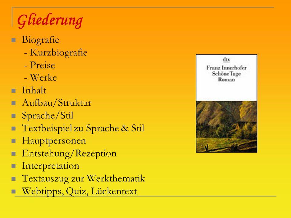 Gliederung Biografie - Kurzbiografie - Preise - Werke Inhalt
