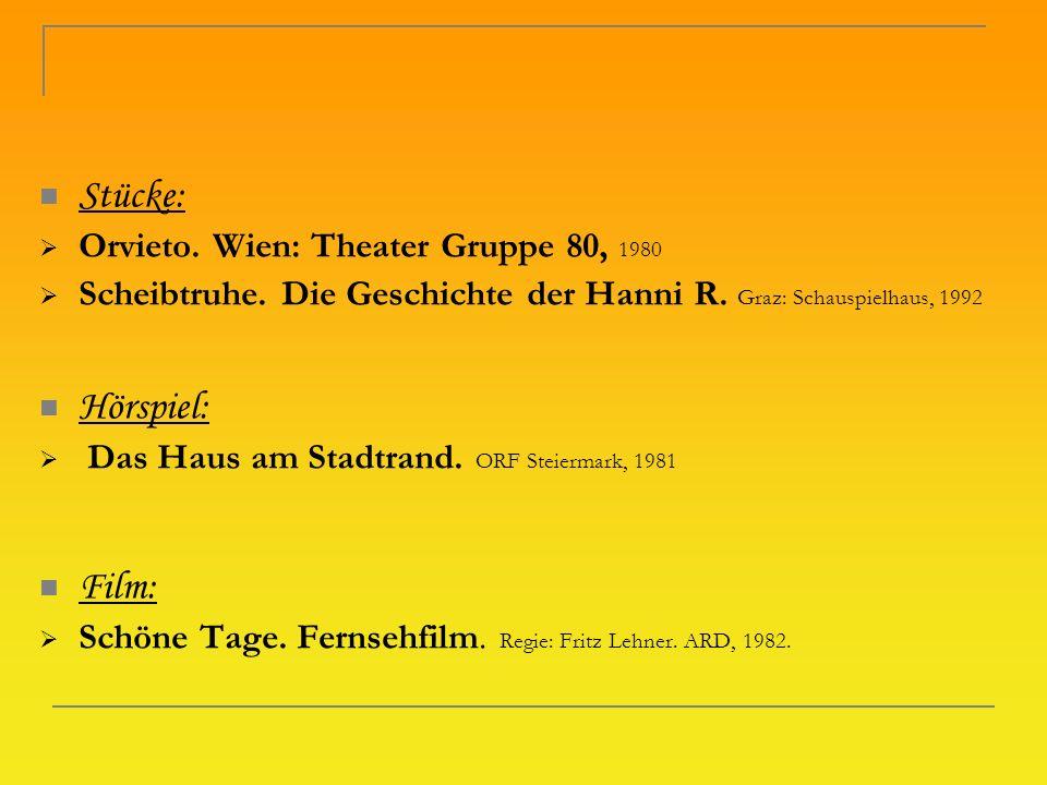 Stücke: Hörspiel: Film: Orvieto. Wien: Theater Gruppe 80, 1980