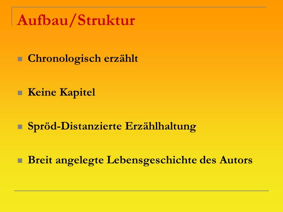 Aufbau/Struktur Chronologisch erzählt Keine Kapitel