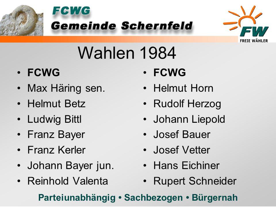 Wahlen 1984 FCWG Max Häring sen. Helmut Betz Ludwig Bittl Franz Bayer