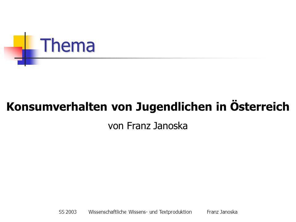 Konsumverhalten von Jugendlichen in Österreich