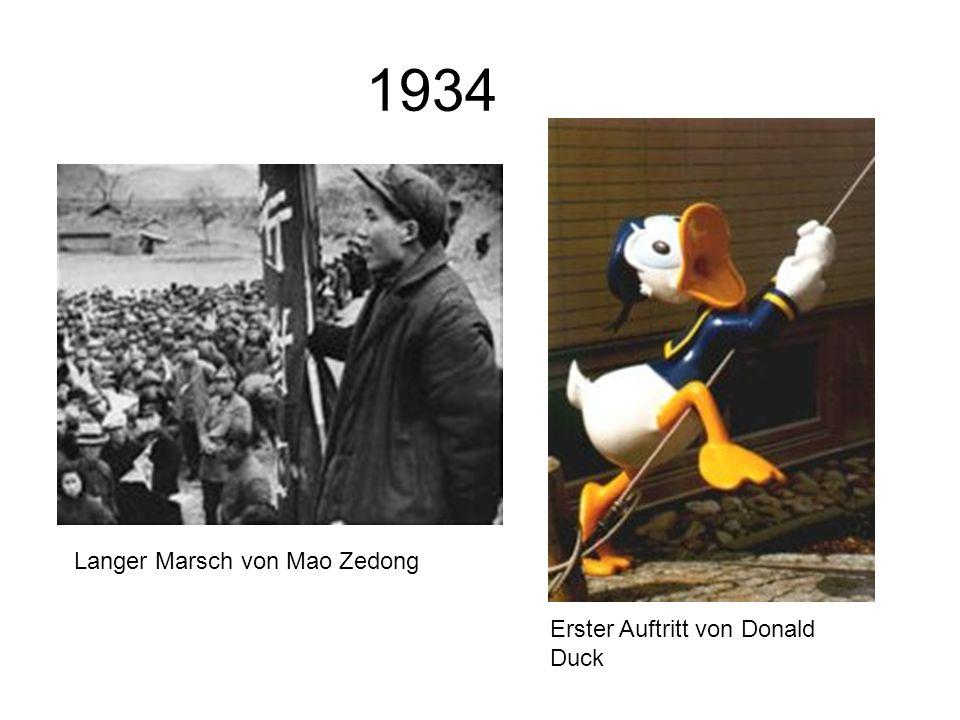 1934 Langer Marsch von Mao Zedong Erster Auftritt von Donald Duck