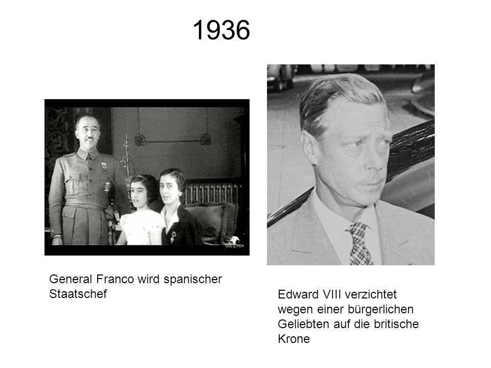 1936 General Franco wird spanischer Staatschef