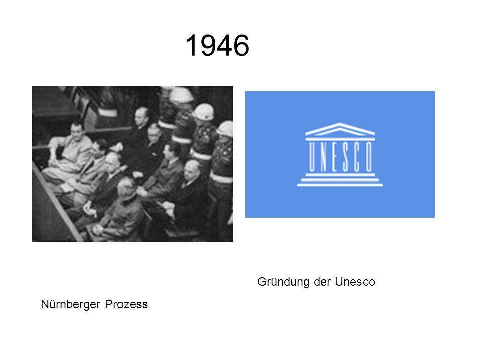 1946 Gründung der Unesco Nürnberger Prozess