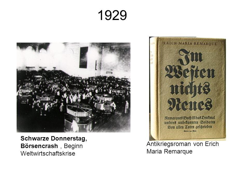 1929 Schwarze Donnerstag, Börsencrash , Beginn Weltwirtschaftskrise