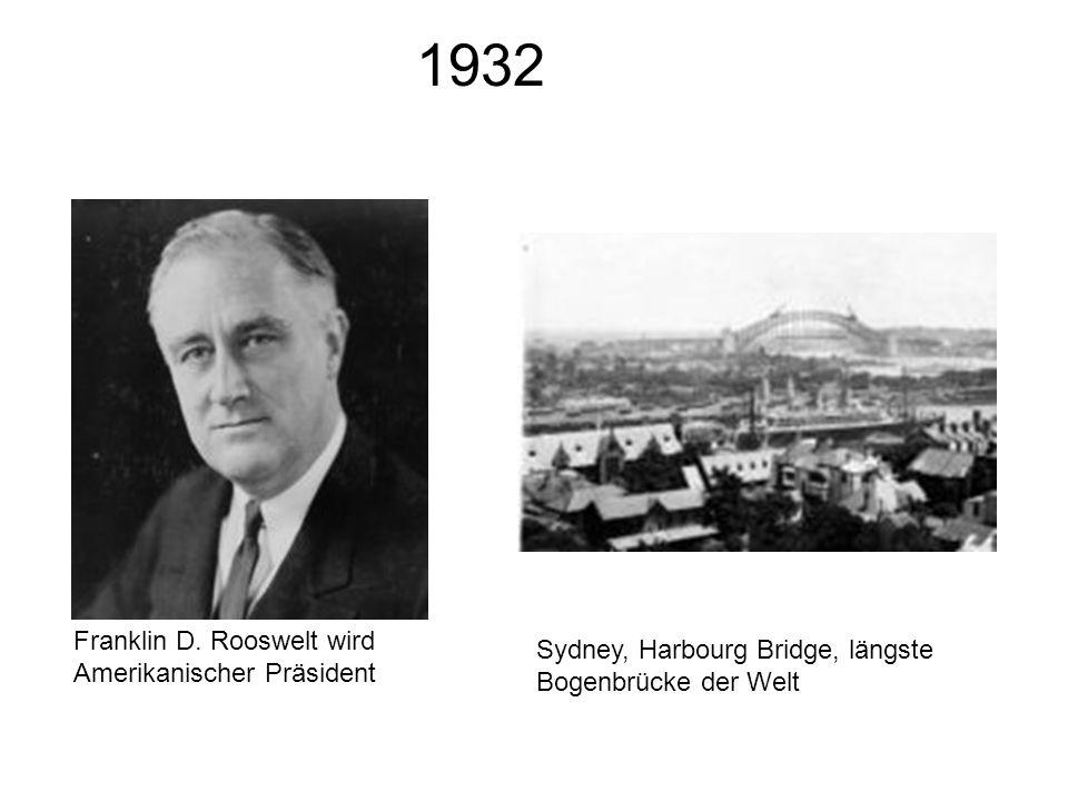 1932 Franklin D. Rooswelt wird Amerikanischer Präsident