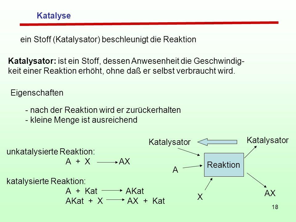 Katalyse ein Stoff (Katalysator) beschleunigt die Reaktion. Katalysator: ist ein Stoff, dessen Anwesenheit die Geschwindig-