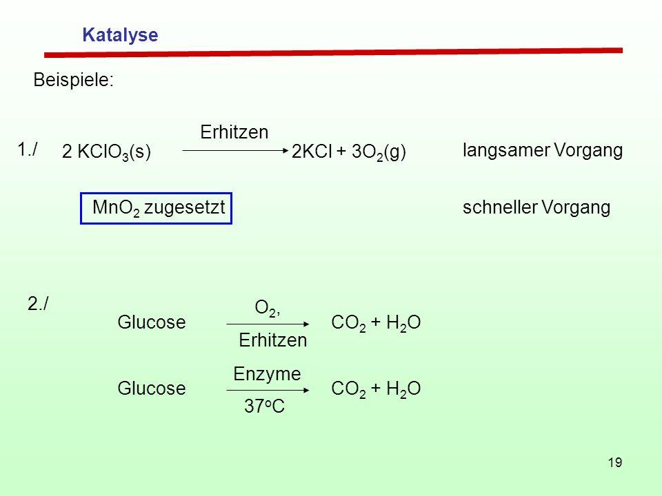 Katalyse Beispiele: Erhitzen. 1./ 2 KClO3(s) 2KCl + 3O2(g) langsamer Vorgang. MnO2 zugesetzt.