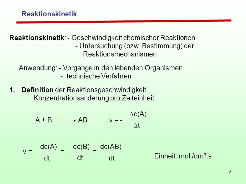 Reaktionskinetik Reaktionskinetik: - Geschwindigkeit chemischer Reaktionen. - Untersuchung (bzw. Bestimmung) der Reaktionsmechanismen.