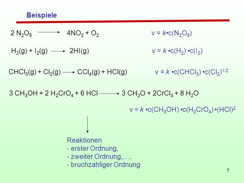 Beispiele 2 N2O5 4NO2 + O2 v = k•c(N2O5) H2(g) + I2(g) 2HI(g) v = k •c(H2) •c(I2)