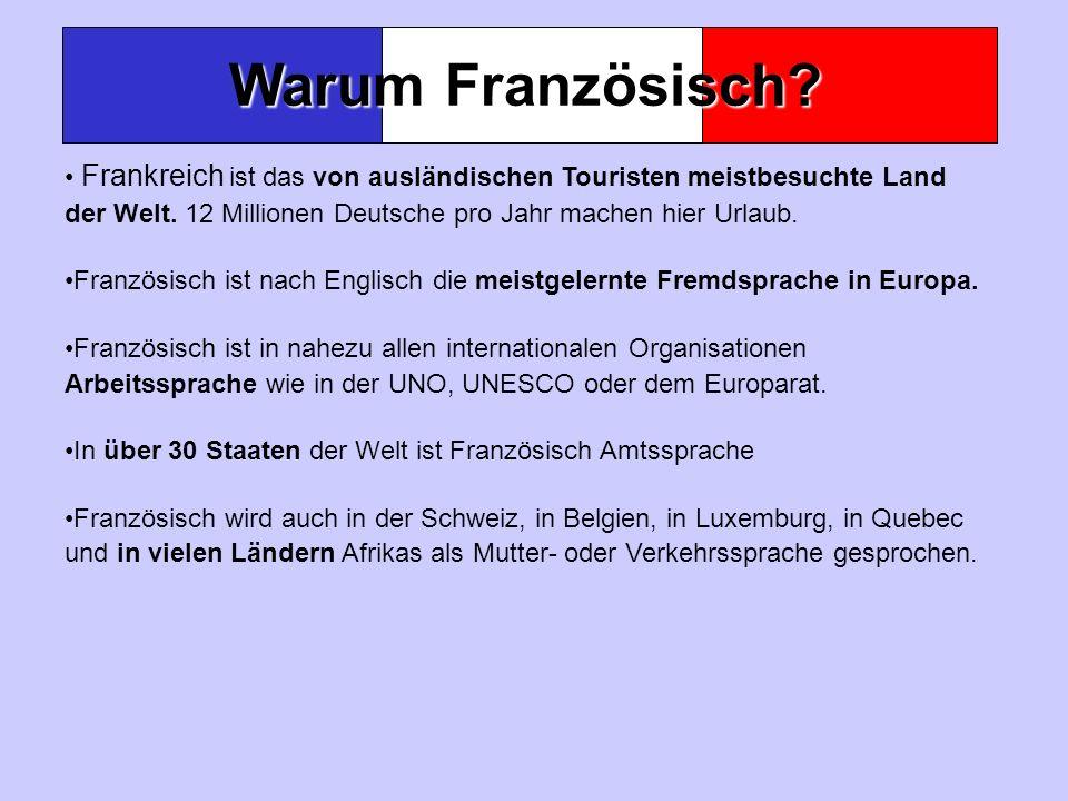 Warum Französisch Frankreich ist das von ausländischen Touristen meistbesuchte Land der Welt. 12 Millionen Deutsche pro Jahr machen hier Urlaub.
